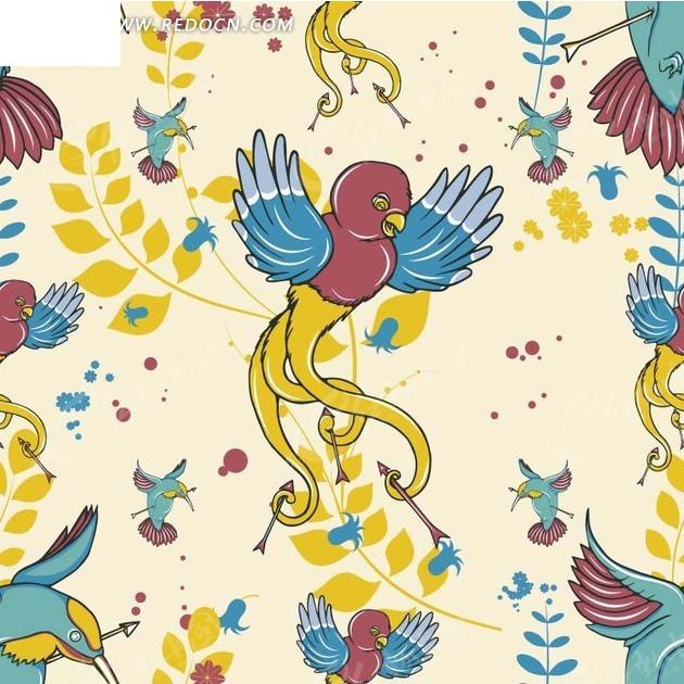 免费素材 矢量素材 花纹边框 底纹背景 > 手绘蓝色黄色枝条和漂亮小鸟