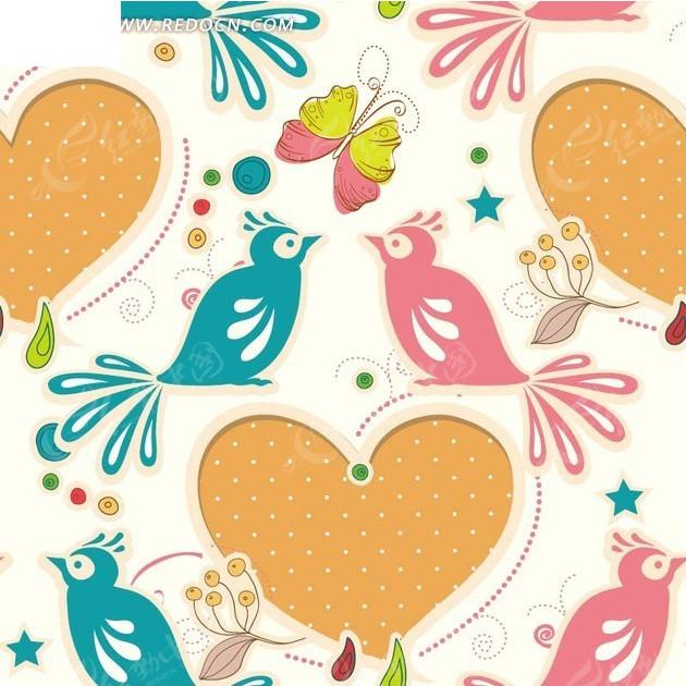 淡黄色背景 手绘心形 蝴蝶 植物 可爱小鸟 动物 五角星  底纹 背景