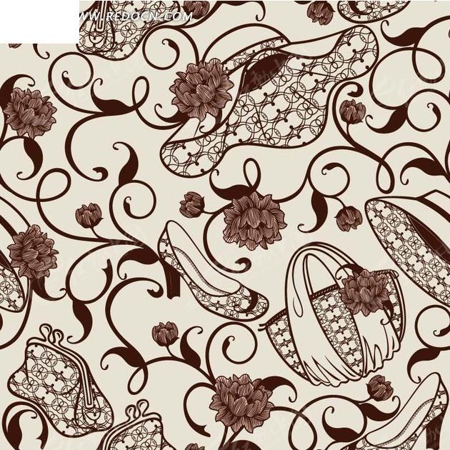 灰色背景上的手绘帽子鞋子手提包和花朵