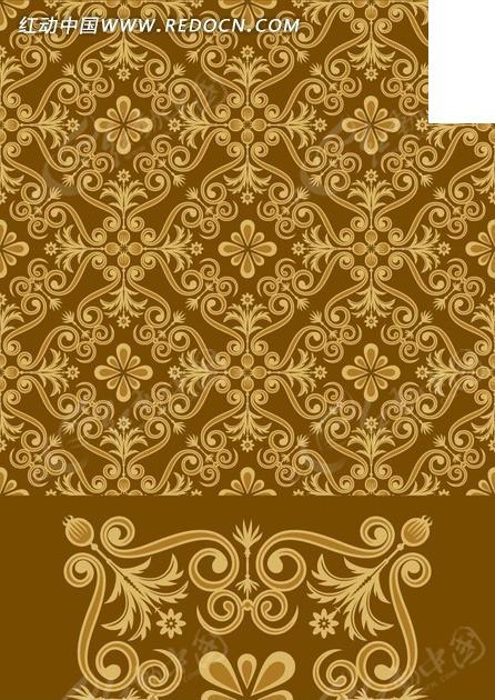 素材下载 矢量素材 花纹边框 底纹背景 > 花纹背景素材—棕色背景上的