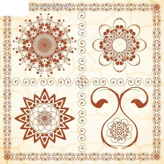 素材下载 矢量素材 花纹边框 底纹背景 > 卷纹花朵花边图案