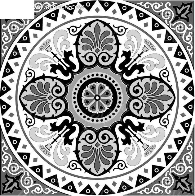 装饰图案—灰色背景上的白色花纹边角和圆形花纹
