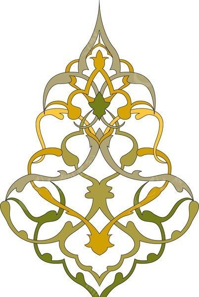 装饰图案 左右对称的交织花纹矢量图