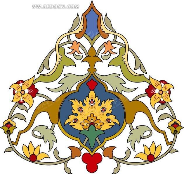 装饰图案—左右对称的三角形枝条