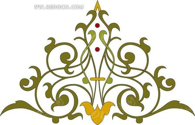 免费素材 矢量素材 花纹边框 花纹花边 装饰图案—三角形的绿色对称