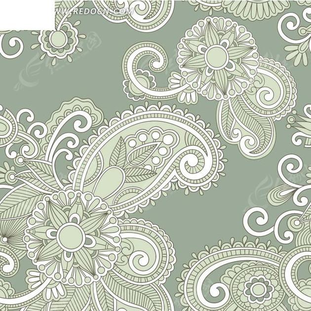绿色背景前的手绘花朵枝条和叶子矢量图_底纹背景
