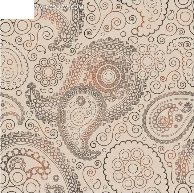 粉色背景 线描鱼形花纹 圆形花朵 圆圈  底纹 背景素材 矢量素材