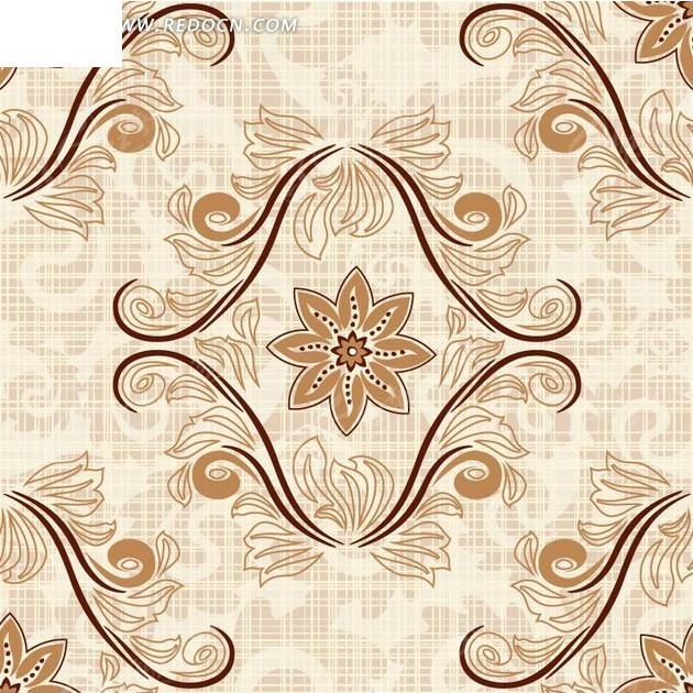 背景素材—淡粉色线条和手绘菱形对称枝条和花朵