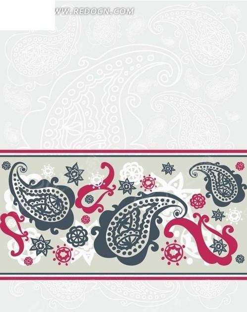 淡蓝色背景上的手绘鱼形花纹和花朵eps免费下载_底纹