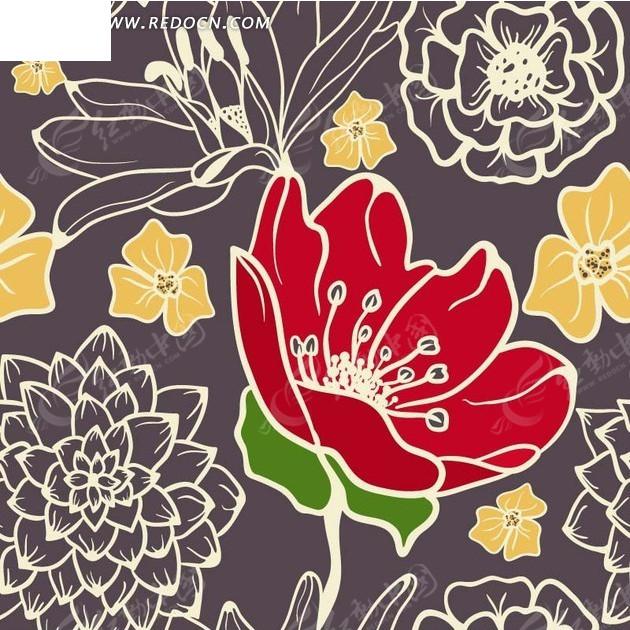 底纹 植物背景素材 深灰色背景 手绘花朵 黄色花朵 红色花朵 背景素材