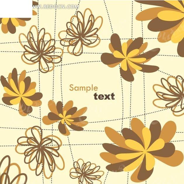 黄色背景上的线条和手绘黄色棕色花朵