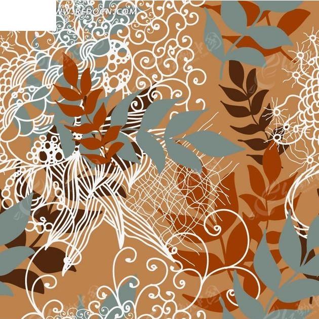 手绘蓝色褐色枝条和花纹叶子以及水波