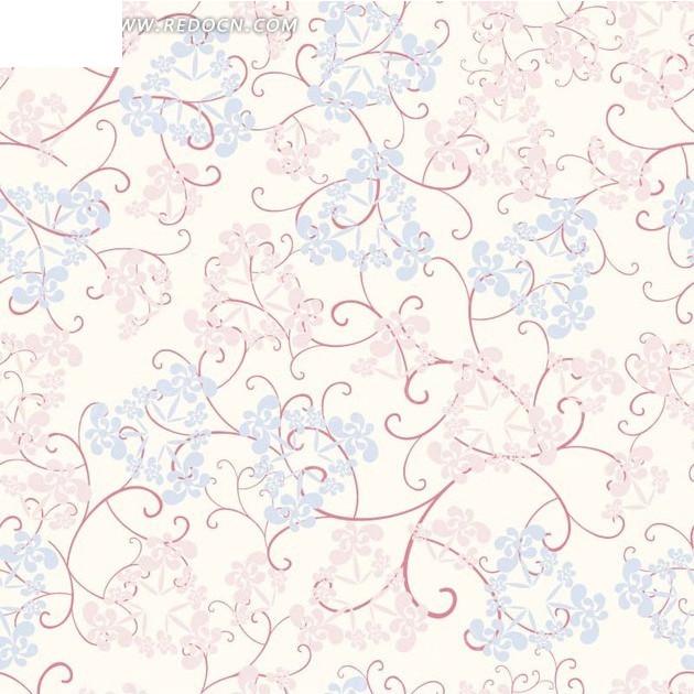 条和粉色蓝色叶子