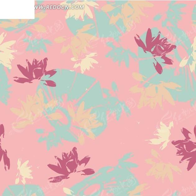 粉色背景上的荷花图案矢量图图片
