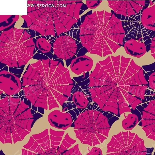万圣节背景素材—枚红色紫色蜘蛛网和南瓜灯