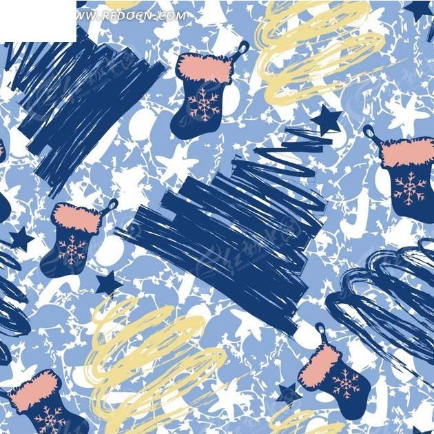 圣诞节背景素材—手绘蓝色圣诞树和蓝色袜子