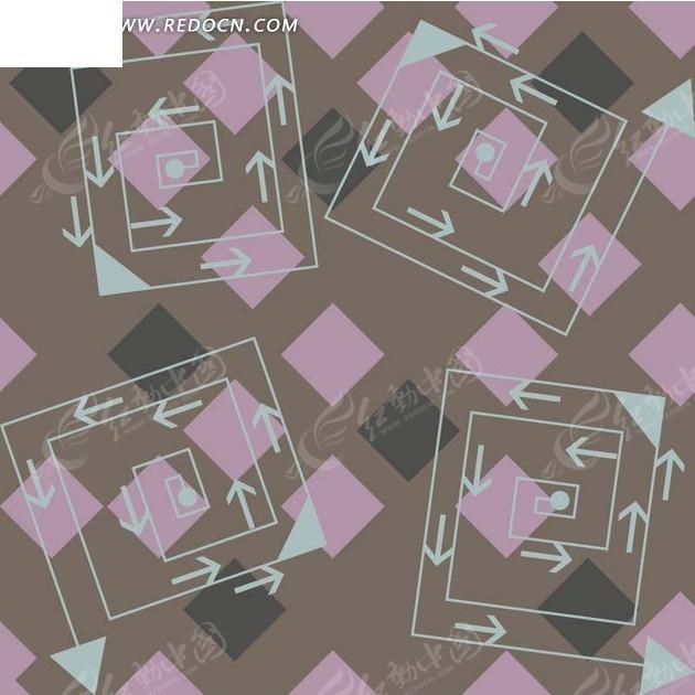粉色灰色方形和浅蓝色螺旋状箭头构成的图案图片
