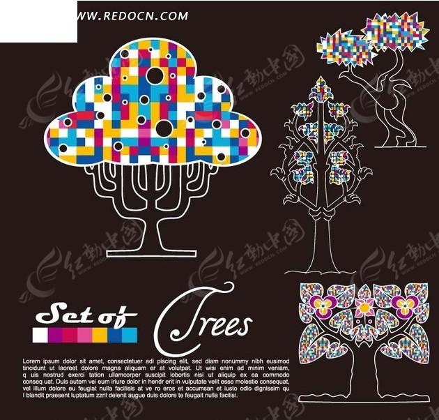 白色背景 彩色 方块 创意树 色块 心形 叶子 线条 图案 装饰底纹边框