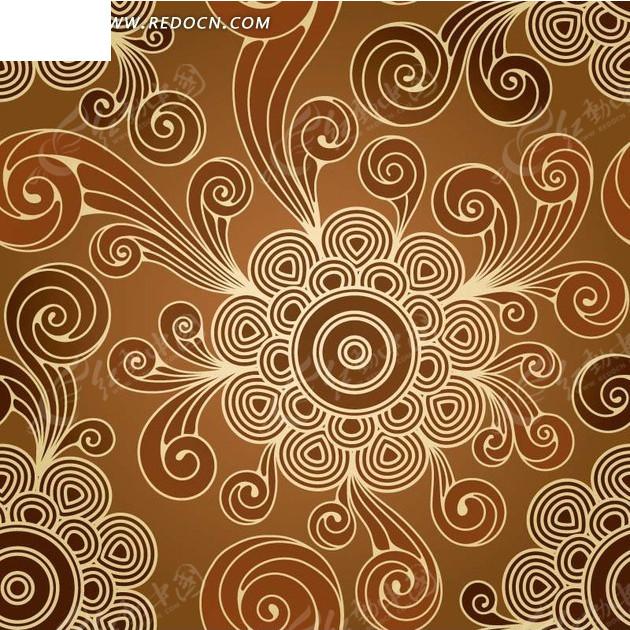 素材下载 矢量素材 花纹边框 底纹背景 > 棕色渐变背景上的手绘圆环和