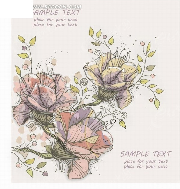 手绘叶子花朵背景图片