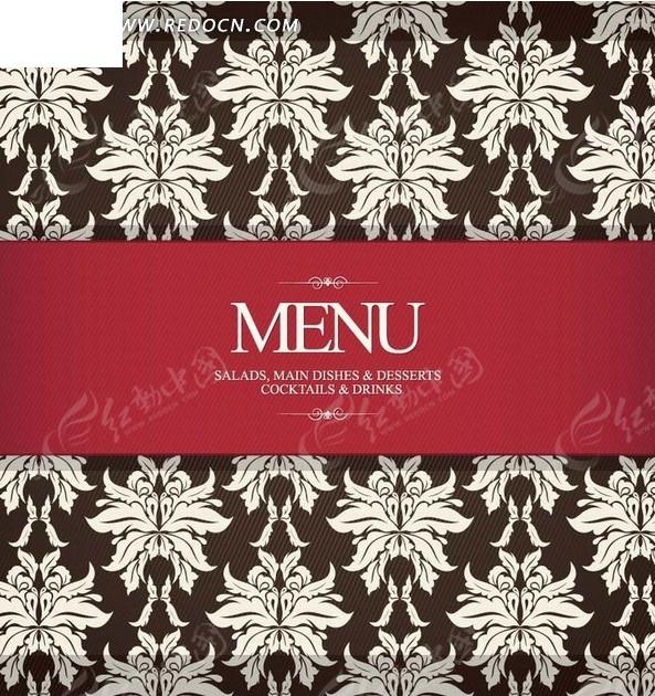 欧式花纹红色边框菜单封面