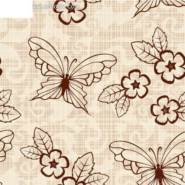 素雅蝴蝶蝴叶子花朵图案