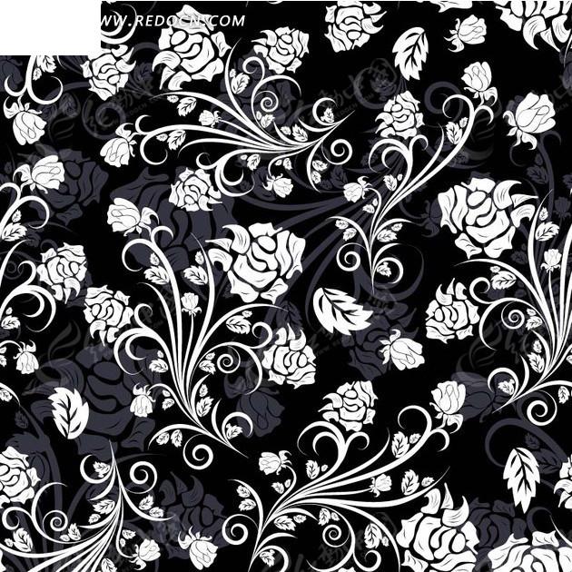 免费素材 矢量素材 花纹边框 底纹背景 黑色背景上的花藤花枝  请您