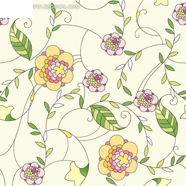 背景素材—手绘细长枝条和粉色黄色花朵