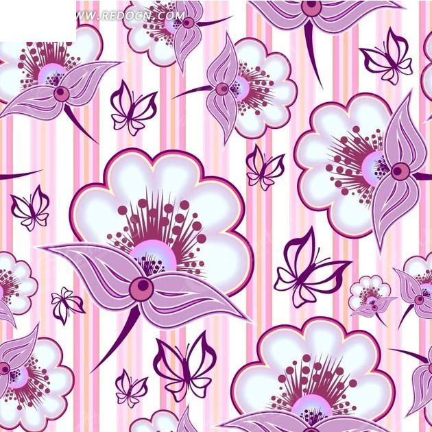背景素材 底纹 粉白竖条纹 手绘粉色叶子 蝴蝶 花朵 矢量素材