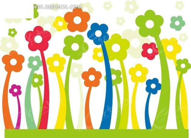 盛开的彩色花朵卡通画