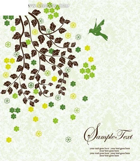 手绘长满叶子的枝条和绿色飞鸟矢量图_底纹背景