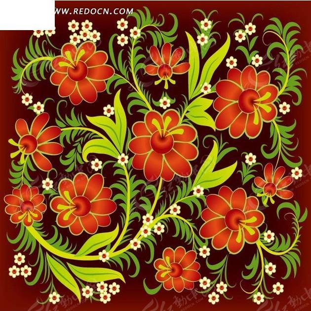 红色背景上的绿色枝条和红色花朵构成的图案图片