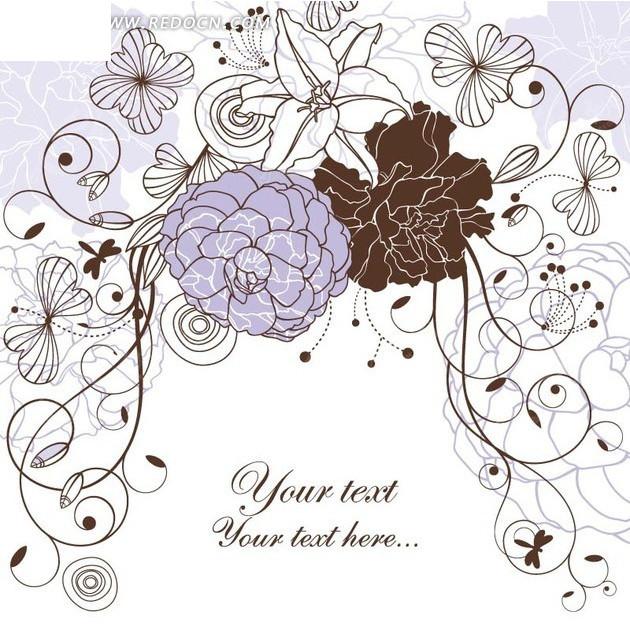 白色背景上的手绘枝条和花朵