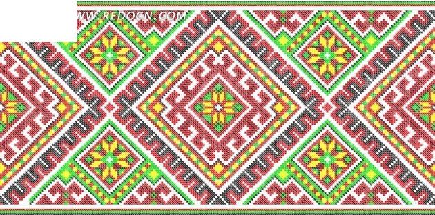 红绿菱形编织图案矢量图