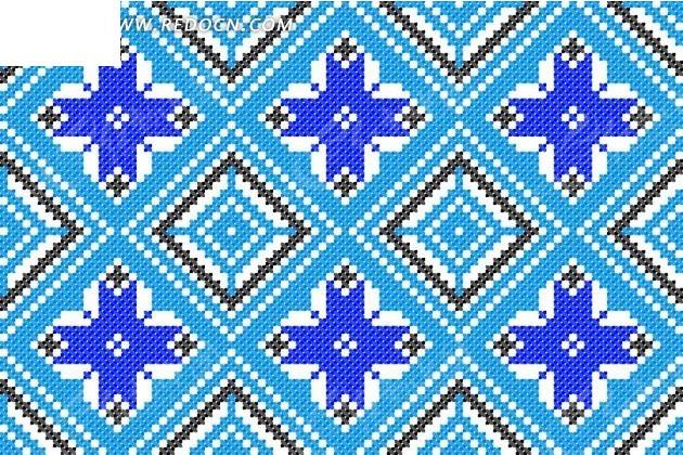 雪花菱形编织图案