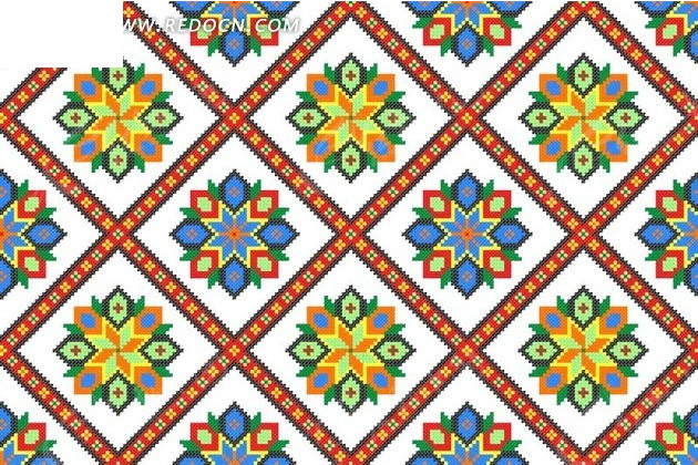 欧式花纹地毯;; 菱形格子和菱形花纹 花纹背景矢量图下载 1987201