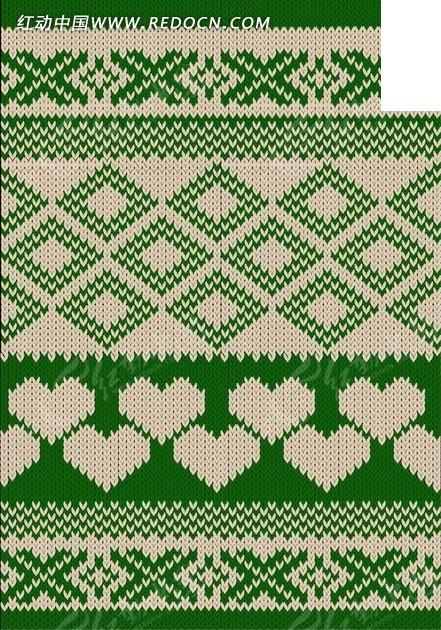 菱形心形编织图案图片
