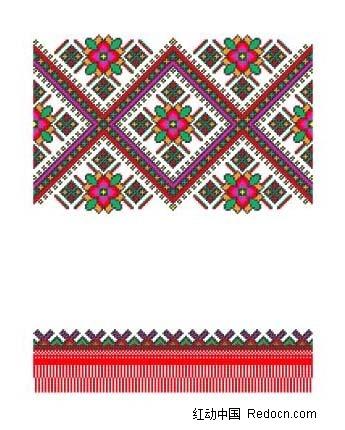 菱形里花朵编织图案
