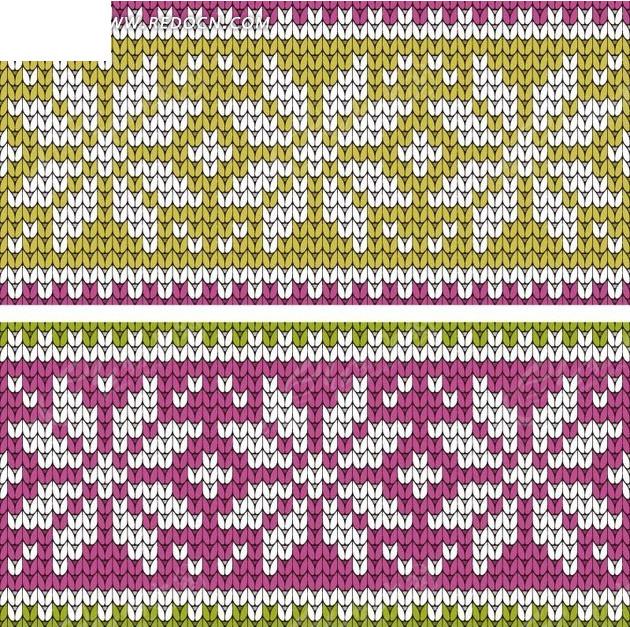 绿紫花朵编织图案图片