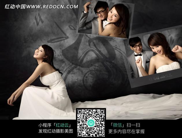 豪华灰色背景的婚纱照拼图相册设计