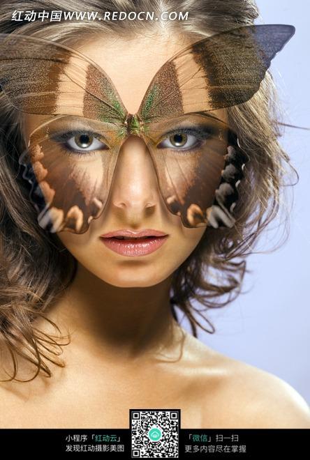 蝴蝶  面具  裸肩  女人  时尚  美女图片 女人女性 摄影图片 人物