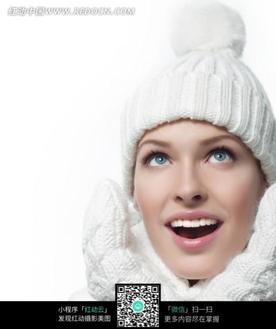 眼睛向上看 微笑 外国 美女 模特 美女图片 女人女性 摄影图片 人物素