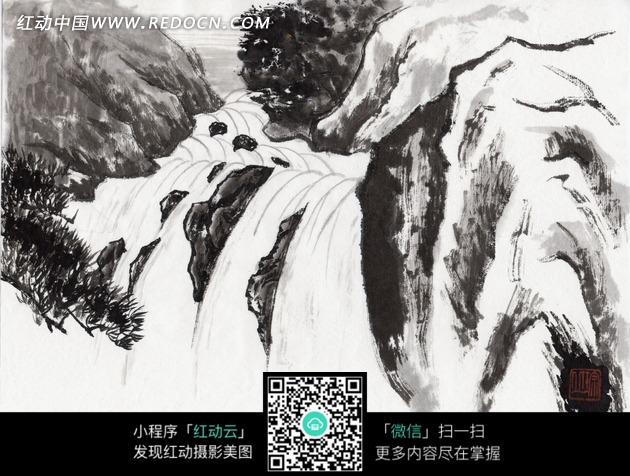 小河 河流 岩石 石头 风景 水墨画 绘画 艺术 书画
