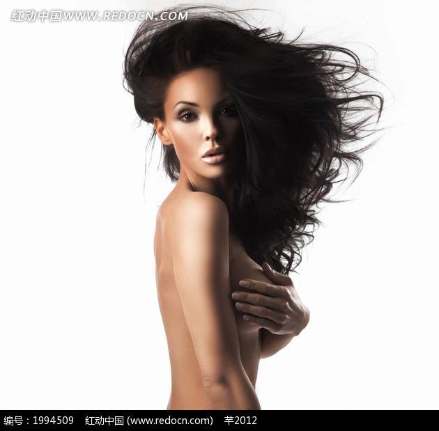 头发凌乱的裸体美女侧面图片 女性女人图片