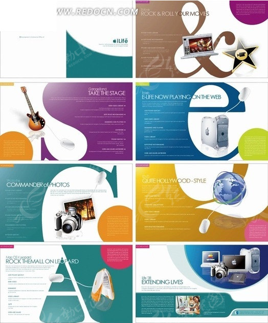 矢量素材 广告设计矢量模板 画册设计 彩色字母排版的科技产品及乐器
