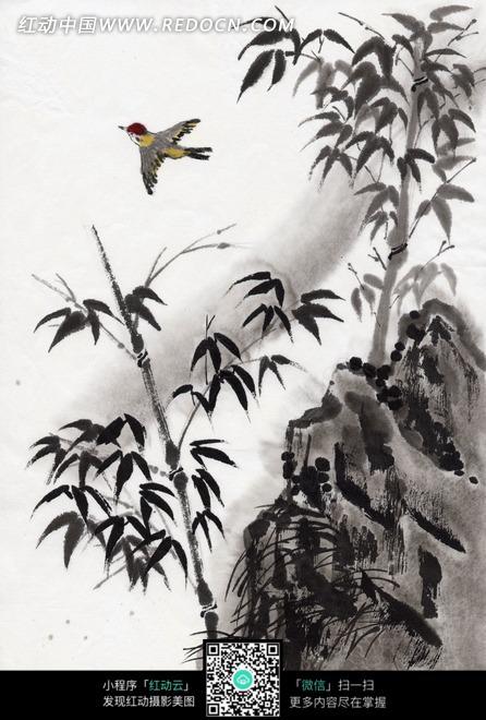 水墨画—高山上的竹子和飞鸟