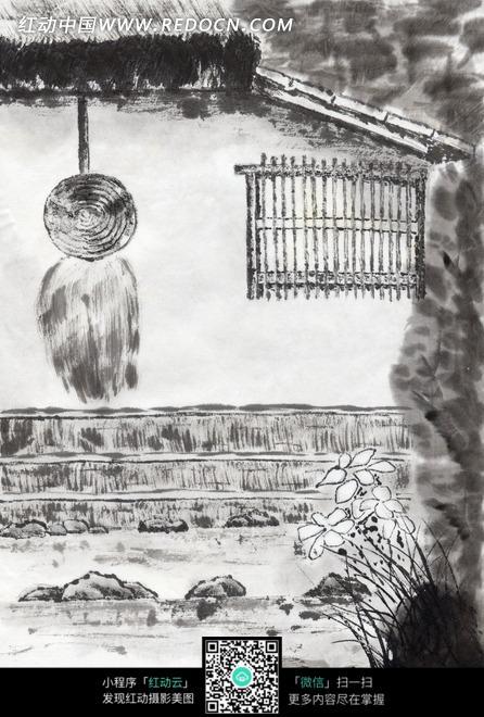 水墨画—茅屋墙壁上的蓑衣和斗笠图片
