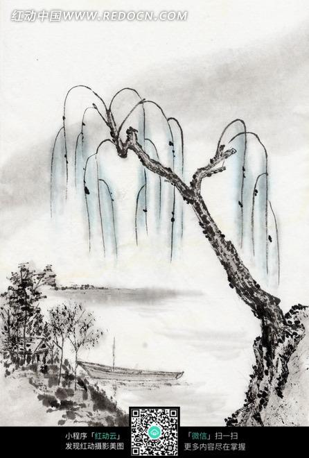 水墨画 柳树下河边的船只图片免费下载 编号1995481 红动网图片
