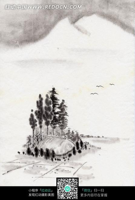 水墨画—高山飞鸟和树木下的茅屋图片图片