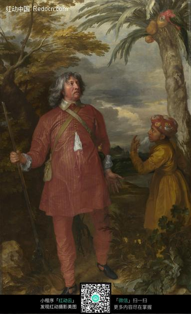 油画—交谈的古代欧洲儿童和男子图片